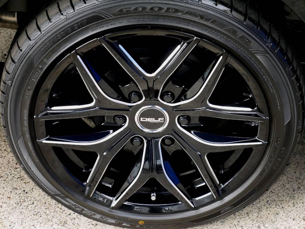 足元にはフレックスオリジナル Delf01 18インチアルミをインストール!! | トヨタ ハイエースバン 2.8 スーパーGL ロング ディーゼルターボ ベットキットパッケージ
