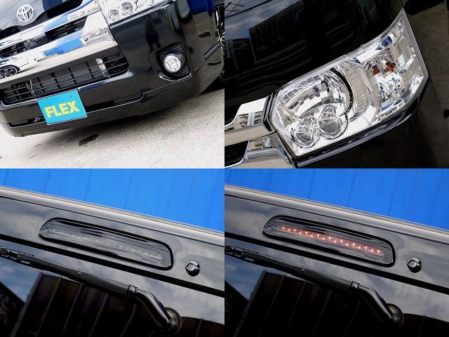 フレックスオリジナルVer1フロントスポイラー装着!!メーカーオプション LEDヘッドライトやヴァレンティ ブラックLEDハイマウント装着!! | トヨタ ハイエースバン 2.8 スーパーGL ロング ディーゼルターボ ベットキットパッケージ
