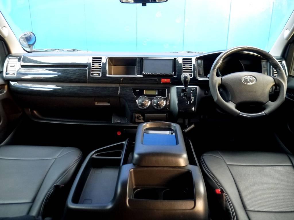 ブラックウッドインテリア&ブラックレザー調シートカバーで高級感を演出!!   トヨタ ハイエースバン 2.7 スーパーGL ワイド ロング ミドルルーフ ブラックカスタム