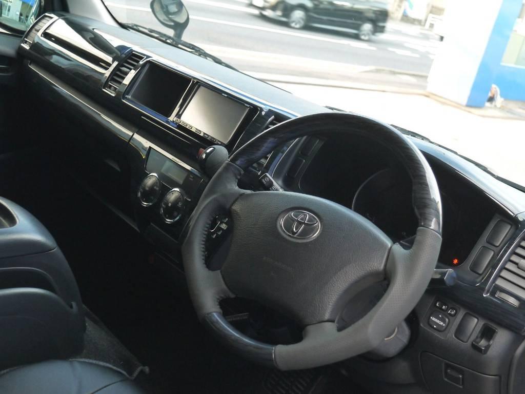 ブラックウッドインテリアで高級感を演出!!   トヨタ ハイエースバン 2.7 スーパーGL ワイド ロング ミドルルーフ ブラックカスタム