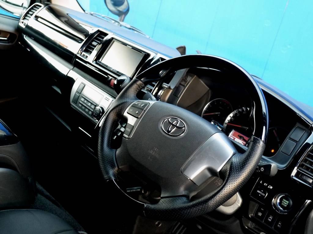 ピアノブラック コンビステアリングに変更済!! | トヨタ ハイエースバン 3.0 スーパーGL ロング ディーゼルターボ ブラックカスタム