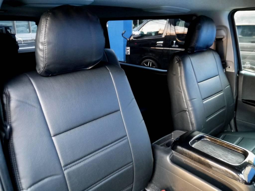 ブラックレザー調シートカバーで高級感を演出!! | トヨタ ハイエースバン 3.0 スーパーGL ロング ディーゼルターボ ブラックカスタム