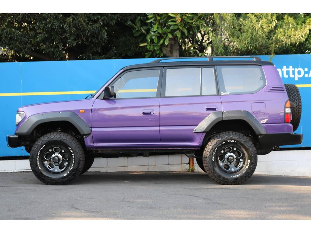 パープルカラーNEWペイント。ルーフブラックが今の流行りです。 | トヨタ ランドクルーザープラド 2.7 TX リミテッド 4WD COLORBOMB パープル