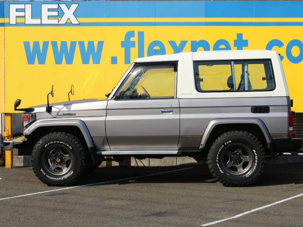 FLEXグループは「すべての人に愛車を」をコンセプトに車種別に全国展開中★愛車と一緒に、ライフスタイルを充実させてもらいたいという思いで、ランクル仙台泉店では皆様のご要望になんでもお応えします★ | トヨタ ランドクルーザー70 4.2 ZX ディーゼル 4WD 低走行74 フェンダーミラー ブラV