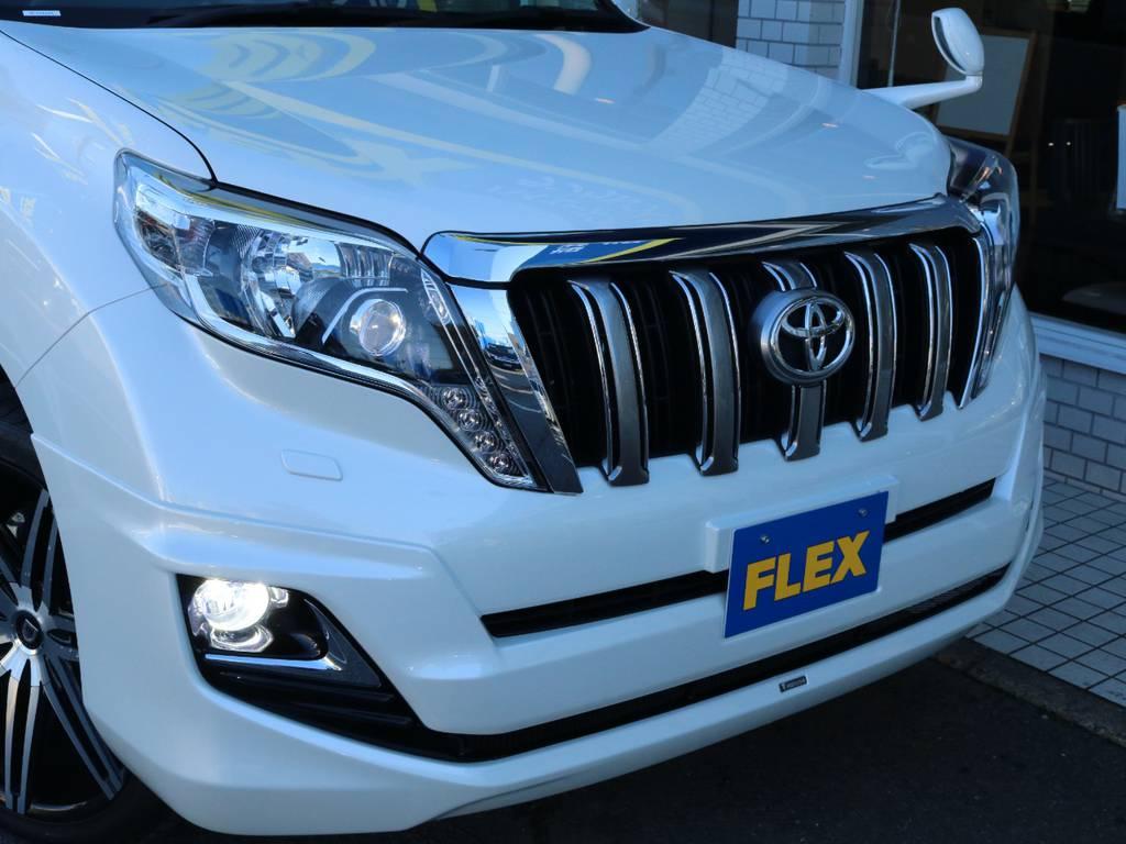 LEDヘッドライトで前方視界も良好です!   トヨタ ランドクルーザープラド 2.7 TX Lパッケージ 4WD 新車未登録 モデリスタエアロ