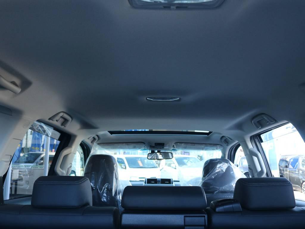 広々した天井!フリップダウンモニターの取り付け事例もございます。   トヨタ ランドクルーザープラド 2.7 TX Lパッケージ 4WD 新車未登録 モデリスタエアロ