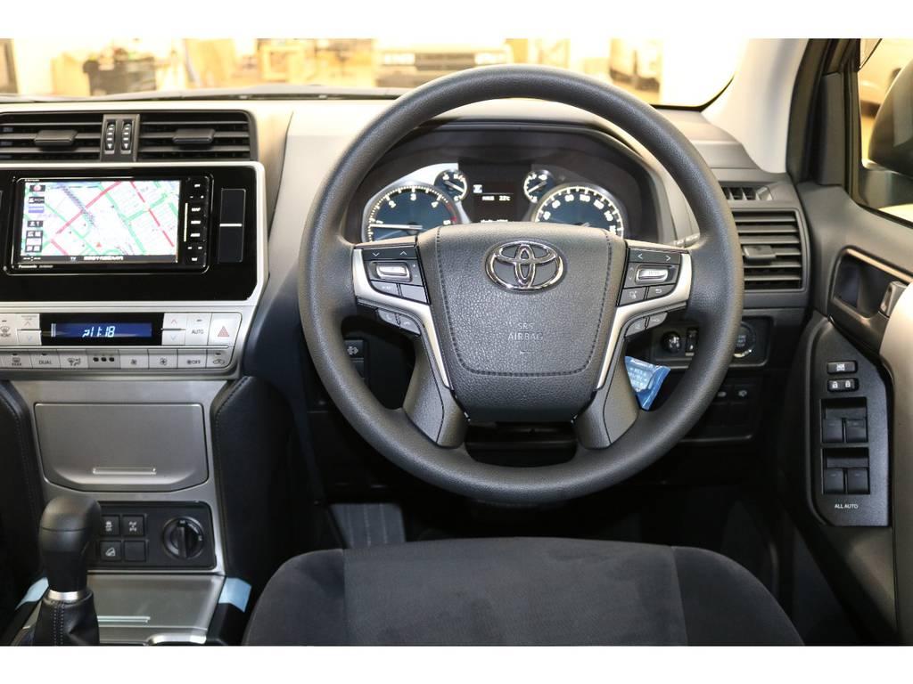 ステアリングスイッチ付き♪オーディオ等と連動してあります♪ | トヨタ ランドクルーザープラド 2.8 TX ディーゼルターボ 4WD 新車未登録 7人乗り