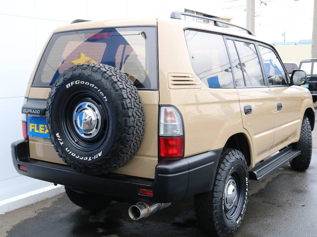 背面タイヤも合わせて交換済み! | トヨタ ランドクルーザープラド 2.7 TX 4WD 丸目 ナロー