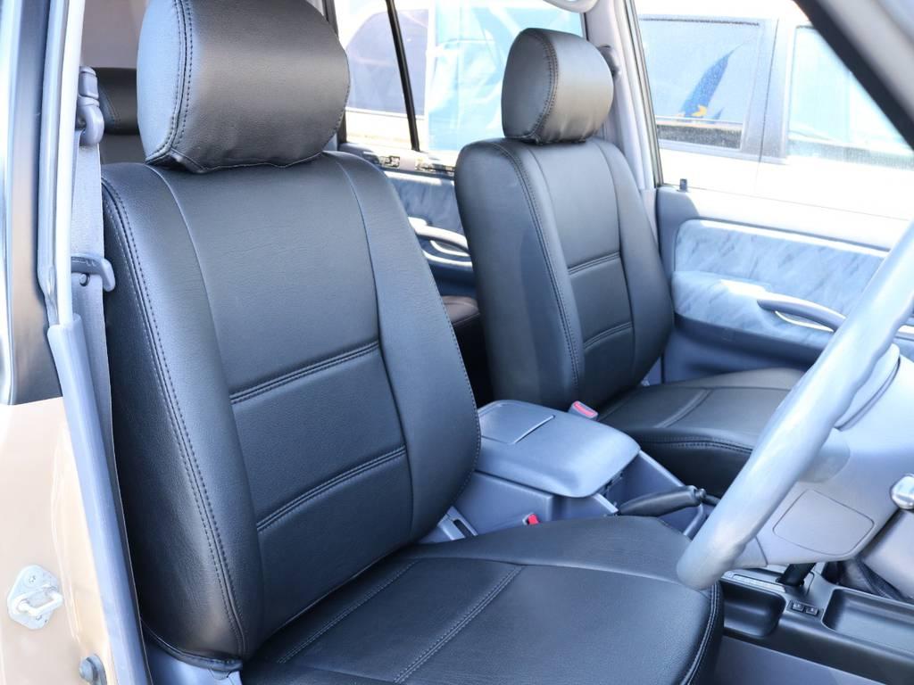 柔らかめなファブリックシート!座り心地もグッド!シートカバーも新品取付済み! | トヨタ ランドクルーザープラド 2.7 TX 4WD 丸目 ナロー