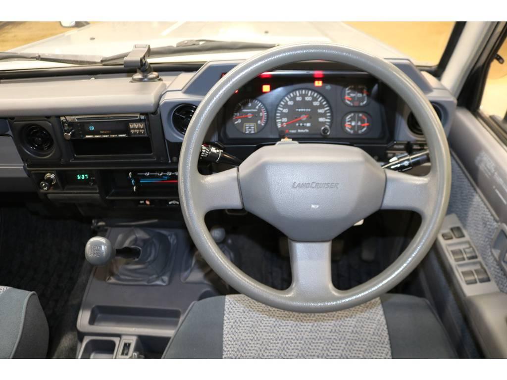 純正ハンドルの状態は良好です♪ | トヨタ ランドクルーザー70 4.2 ZX ディーゼル 4WD