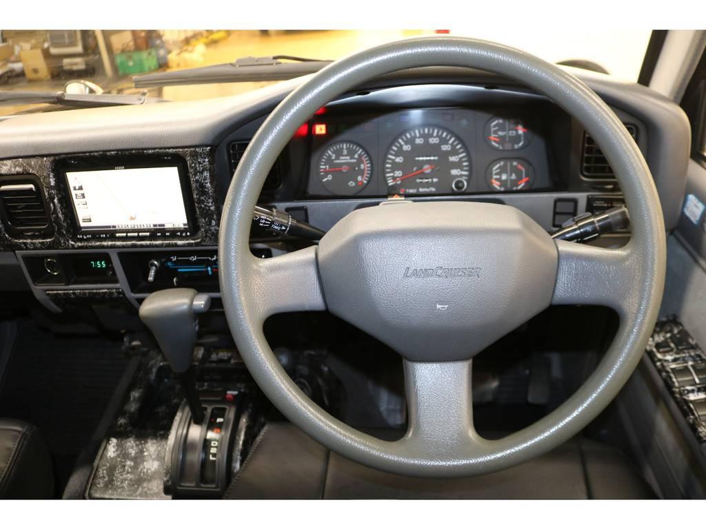 純正ハンドルの状態も良好です♪ | トヨタ ランドクルーザープラド 3.0 EXワイド ディーゼルターボ 4WD