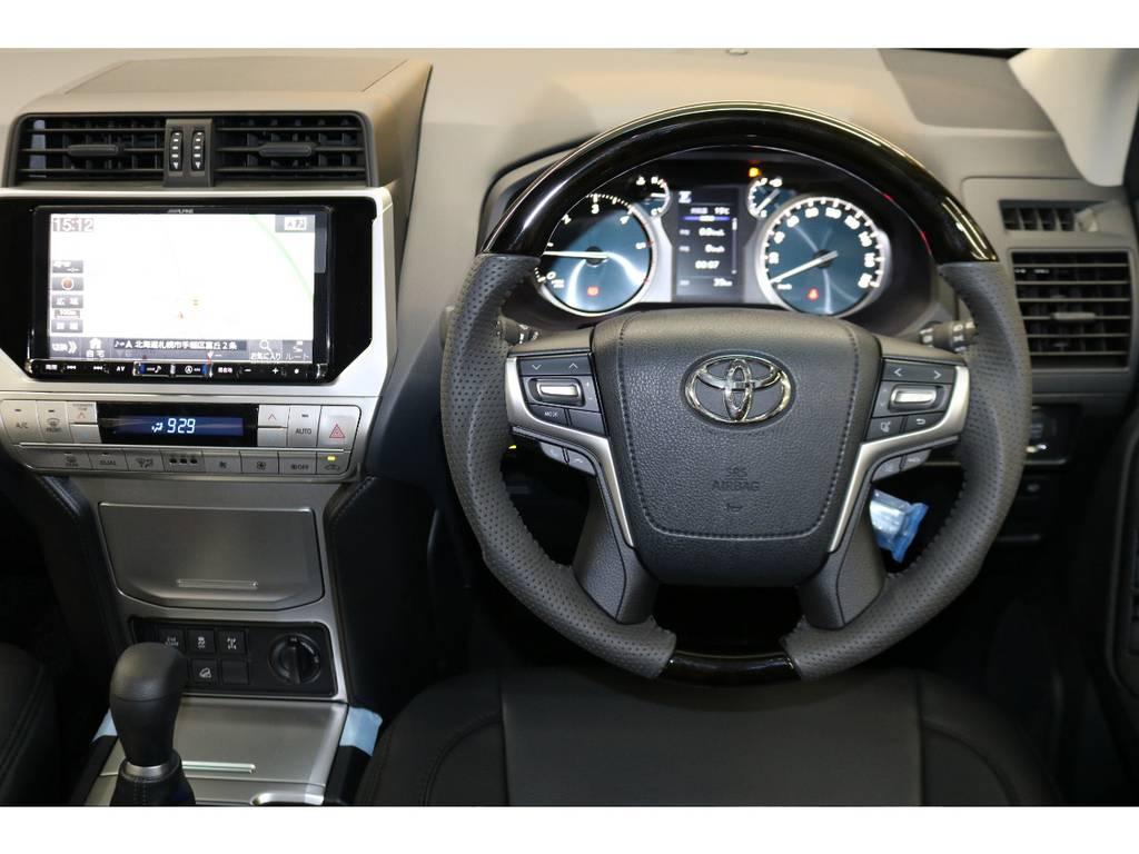 レアルブラックウッドハンドル☆ | トヨタ ランドクルーザープラド 2.8 TX ディーゼルターボ 4WD 7人 試乗車