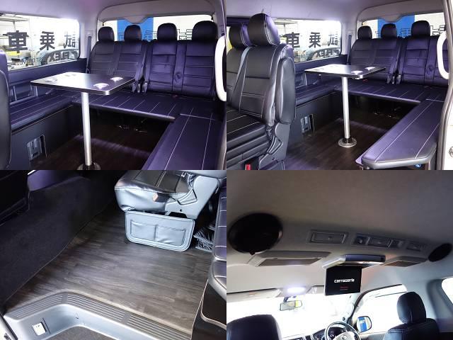 床張り施工、ポールテーブル装備!! | トヨタ ハイエース 2.7 GL ロング ミドルルーフ 試乗車