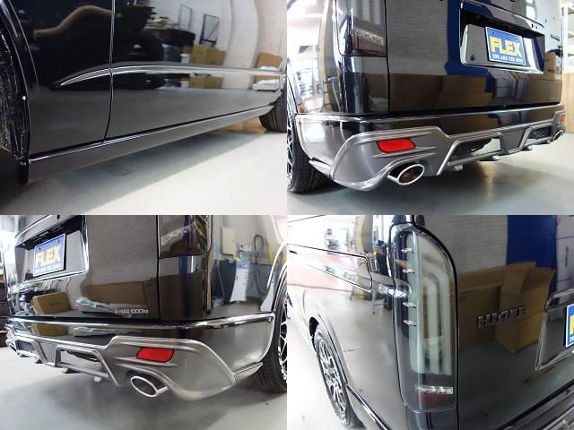 ESSEXサイドライナー、クワトロリアバンパー2本出しマフラーカッター!! | トヨタ ハイエースバン 2.0 スーパーGL ロング ダークプライム