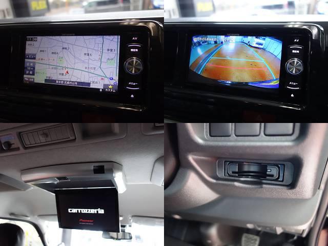 パイオニア製SDナビフルセグ対応、バックカメラ加工、フリップダウンモニター装備!!   トヨタ ハイエース 2.7 GL ロング ミドルルーフ 4WD