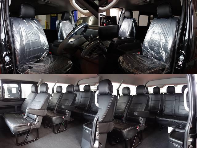 全席オリジナルシートカバー装着済み!!   トヨタ ハイエース 2.7 GL ロング ミドルルーフ 4WD
