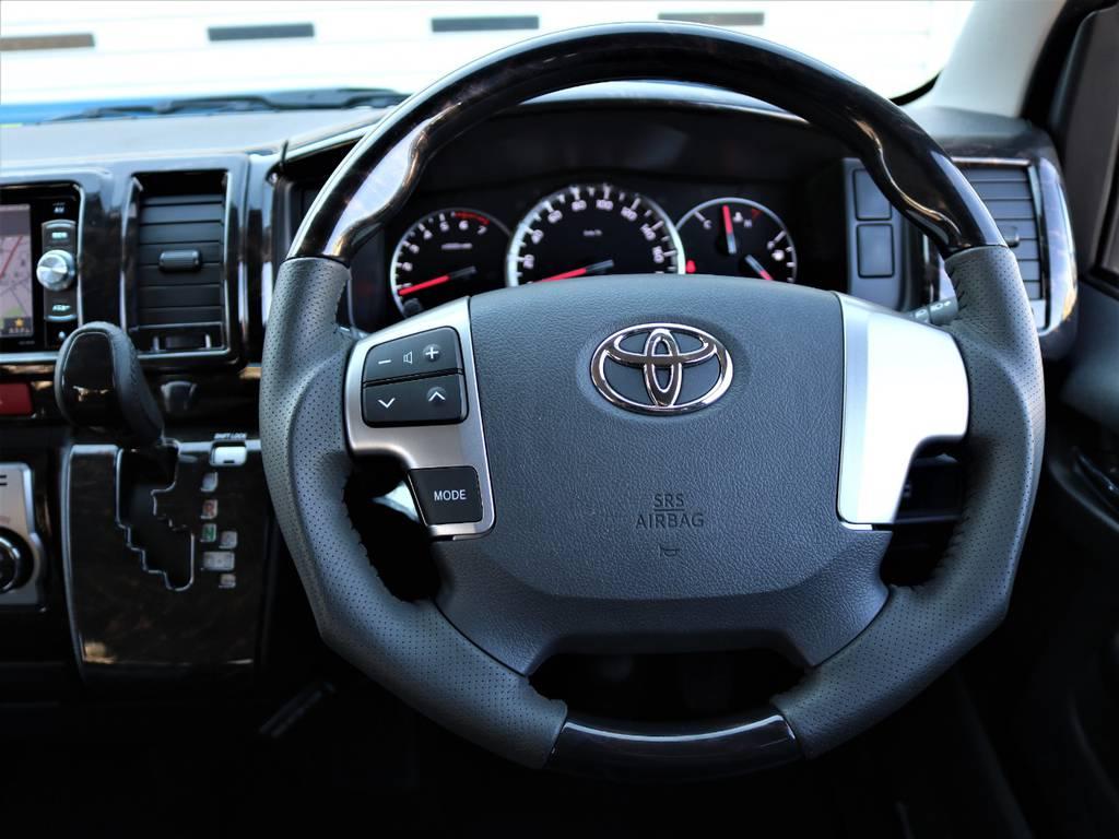 415コブラ マホガニー黒木目調コンビハンドル&シフトノブ!   トヨタ ハイエース 2.7 GL ロング ミドルルーフ 4WD Wild STYLE WAGON