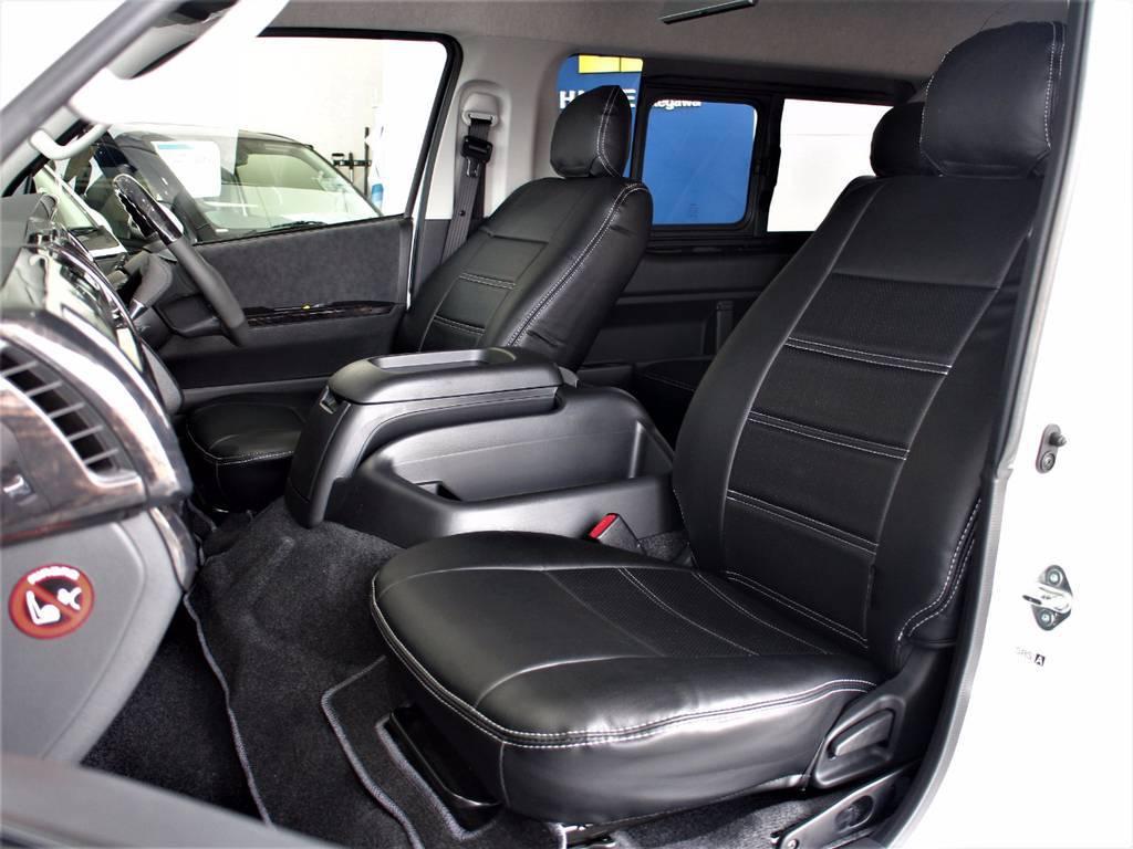 黒革調シートカバー! | トヨタ ハイエース 2.7 GL ロング ミドルルーフ 4WD サイドオーニング