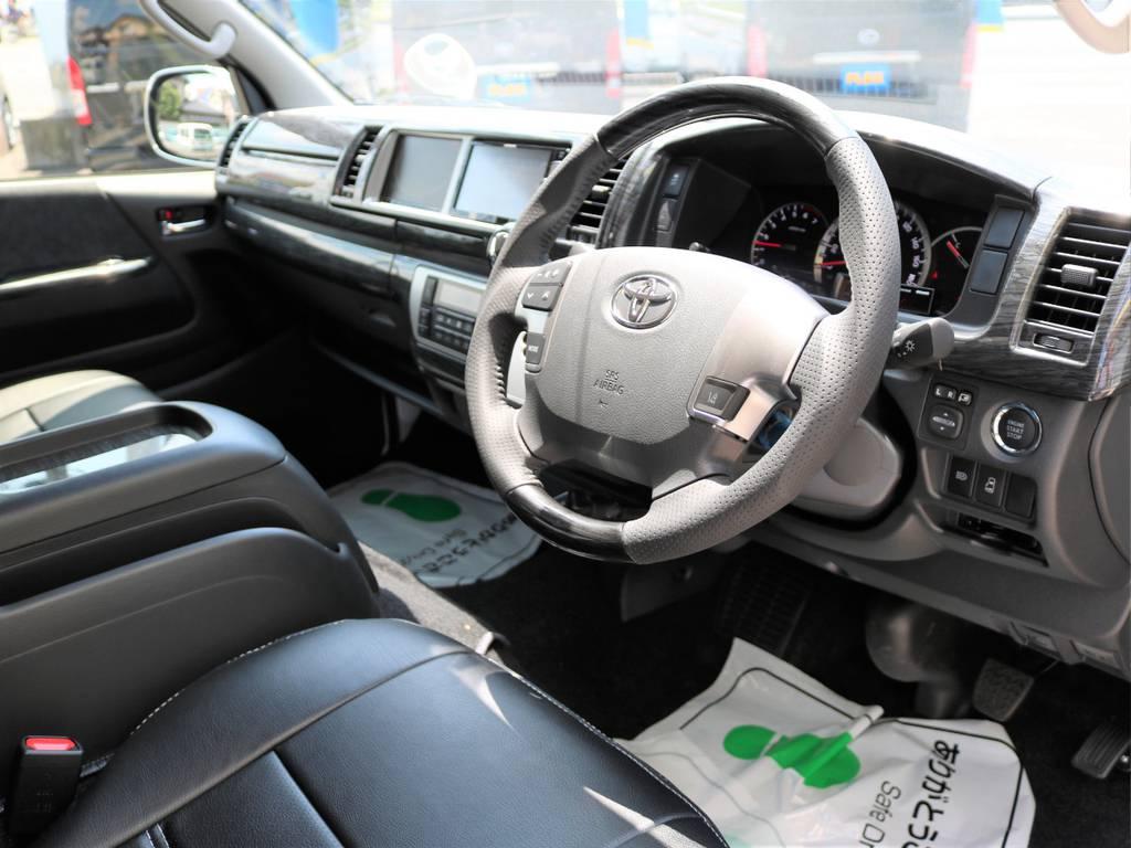 黒木目調インテリアパネルキットで室内が高級感のある仕上がりとなっています! | トヨタ ハイエース 2.7 GL ロング ミドルルーフ 新型 TSS 試乗車