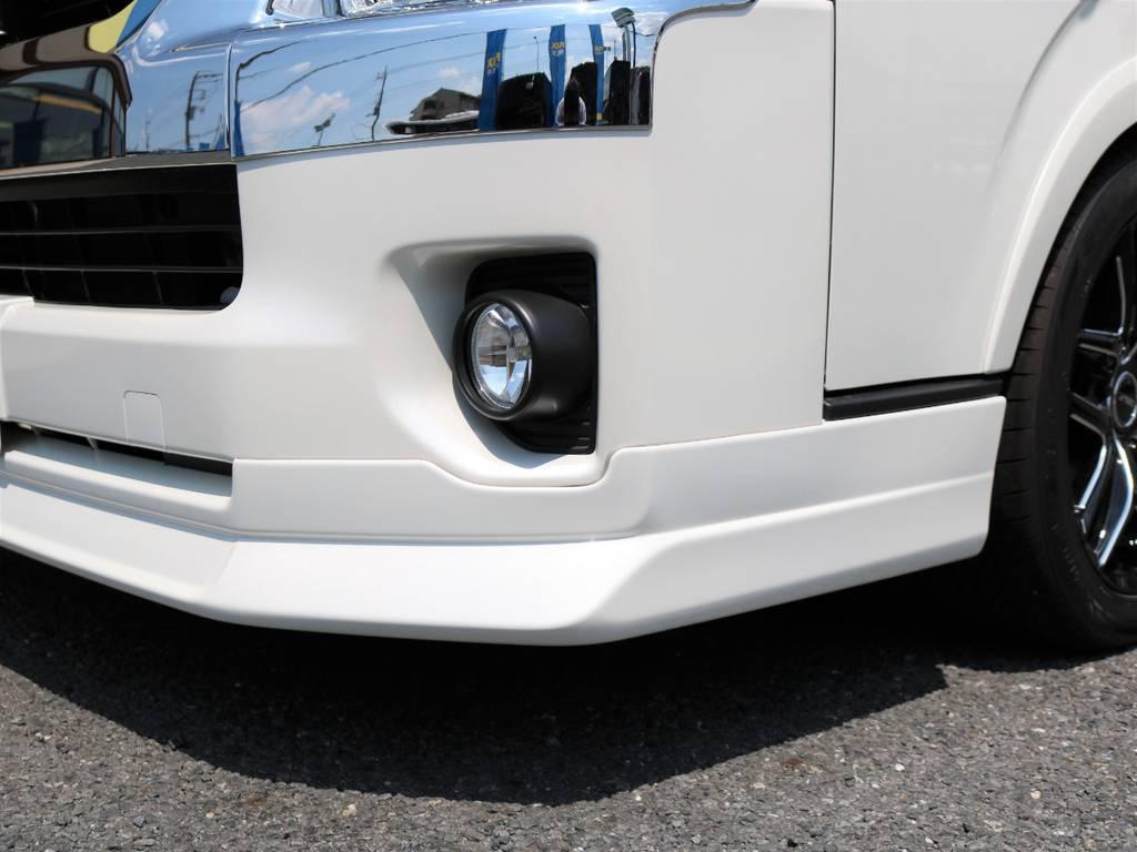 FLEXオリジナルフロントリップスポイラー DelfinoLineをインストール! | トヨタ ハイエース 2.7 GL ロング ミドルルーフ 新型 TSS 試乗車