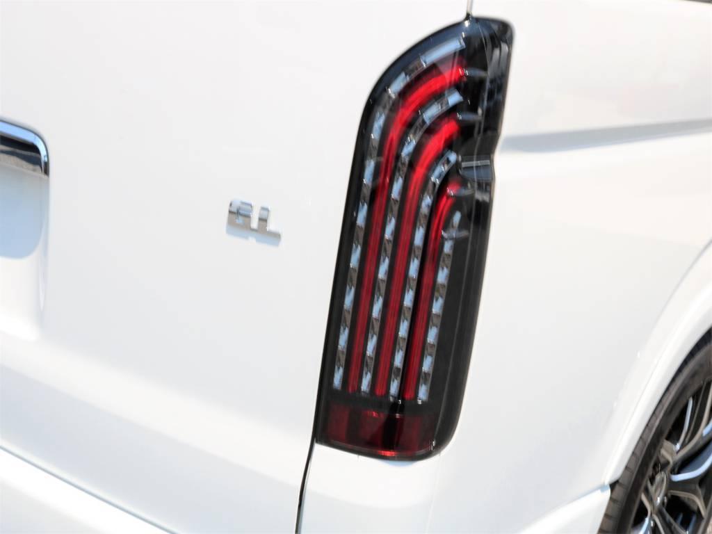 リアにはFLEXオリジナル煌LEDテールランプを装着しました! | トヨタ ハイエース 2.7 GL ロング ミドルルーフ 新型 TSS 試乗車