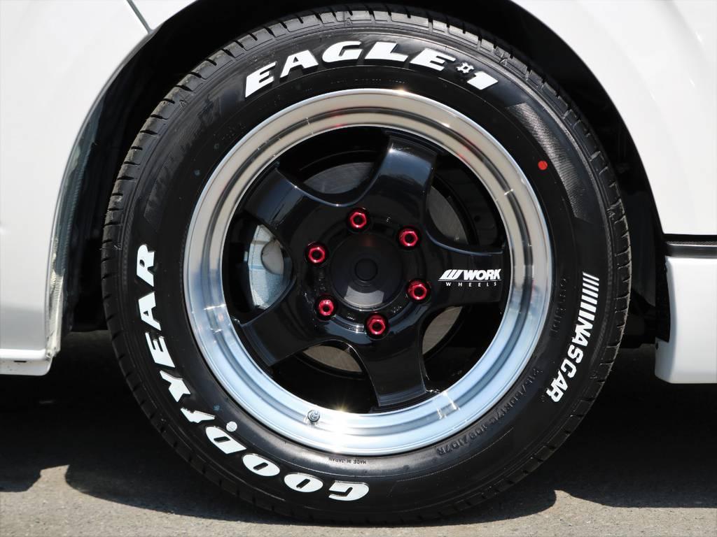 エクストラップワーク17インチアルミ×ナスカーホワイトレタータイヤ♪ | トヨタ ハイエースバン 2.8 スーパーGL ワイド ロング ミドルルーフ ディーゼルターボ 新型 ダーク TSS