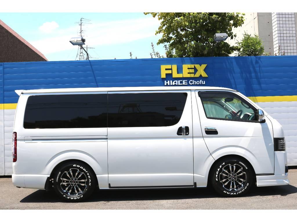 FLEXオリジナルDelfino Lineフロントスポイラー!3インチローダウンKIT! | トヨタ ハイエースバン 2.0 スーパーGL ダークプライム ロングボディ 4型6速AT車