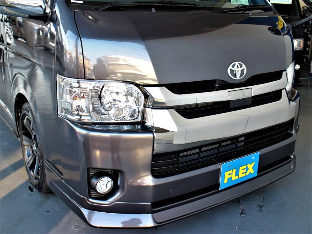 FLEXオリジナルDelfino Lineフロントスポイラー! | トヨタ ハイエースバン 2.7 スーパーGL ダークプライムⅡ ワイド ミドルルーフ ロングボディ 4WD