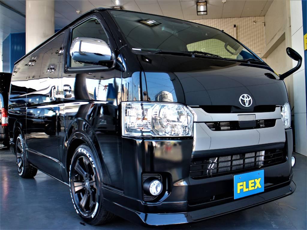 FLEXオリジナルDelfino Lineフロントスポイラー! | トヨタ ハイエースバン 2.0 スーパーGL ダークプライムⅡ ロングボディ