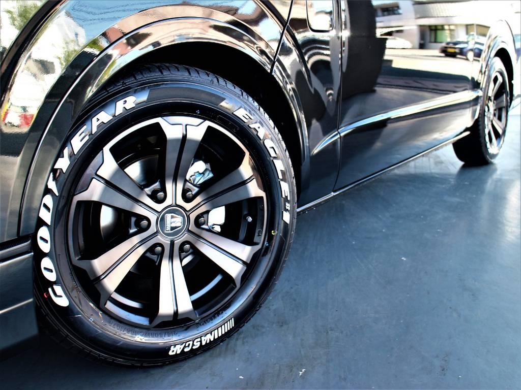 バルベロ17インチアルミホイール! グッドイヤーイーグルナスカータイヤ! FLEXオリジナルDelfino Lineオーバーフェンダー! | トヨタ ハイエースバン 2.0 スーパーGL ダークプライムⅡ ロングボディ