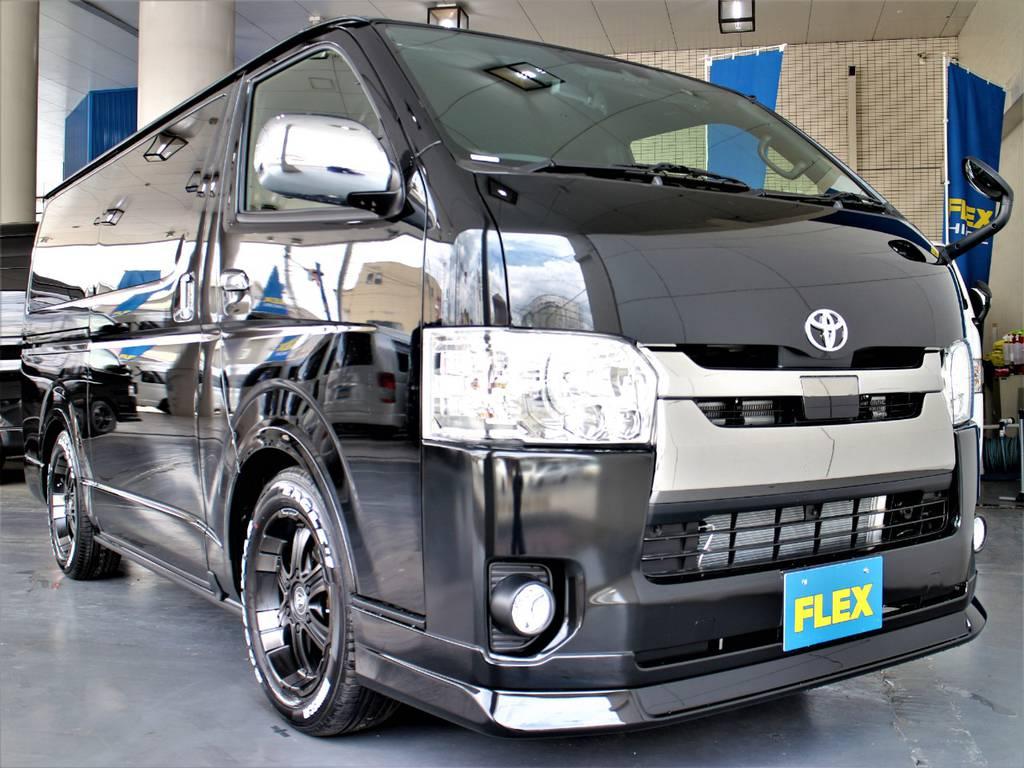 FLEXオリジナルDelfino Lineフロントスポイラー! | トヨタ ハイエースバン 2.8 スーパーGL ダークプライムⅡ ロングボディ ディーゼルターボ 4WD アレンジFU-Nスライド内装架装