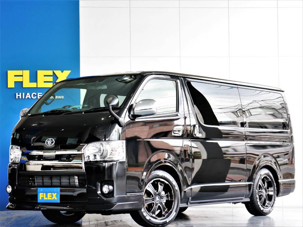 FLEXハイエースさいたま桶川店 お問い合わせはこちらまで 0487799122 | トヨタ ハイエースバン 2.8 スーパーGL ダークプライムⅡ ロングボディ ディーゼルターボ 4WD アレンジFU-Nスライド内装架装