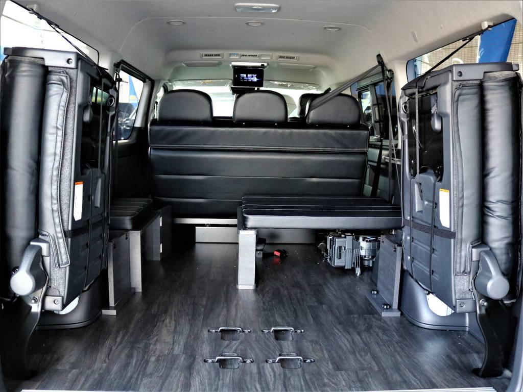 後席跳ね上げ・ベッドキット取り外し可能です! | トヨタ ハイエース 2.7 GL ロング ミドルルーフ バージョンⅡ内装架装