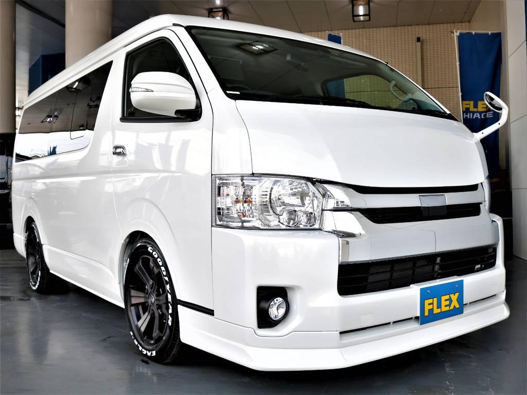 FLEXオリジナルDelfino Lineフロントスポイラー! 415コブラボンネット! | トヨタ ハイエース 2.7 GL ロング ミドルルーフ バージョンⅡ内装架装