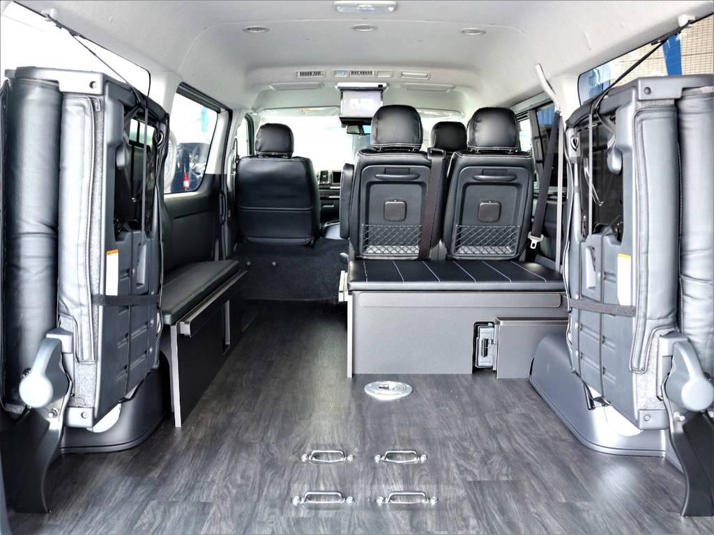 後席跳ね上げ・ベッドキット取り外し可能です! | トヨタ ハイエース 2.7 GL ロング ミドルルーフ アレンジR1内装架装