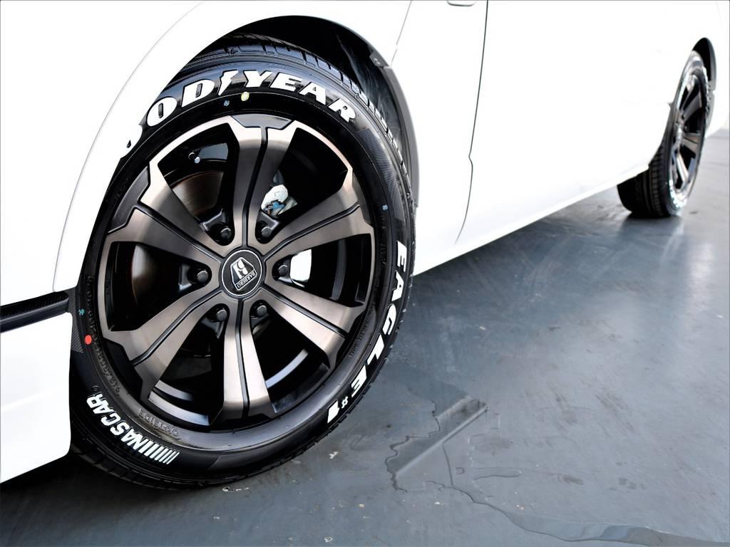 バルベロ17インチアルミホイール! グッドイヤーイーグルナスカータイヤ! | トヨタ ハイエース 2.7 GL ロング ミドルルーフ アレンジR1内装架装