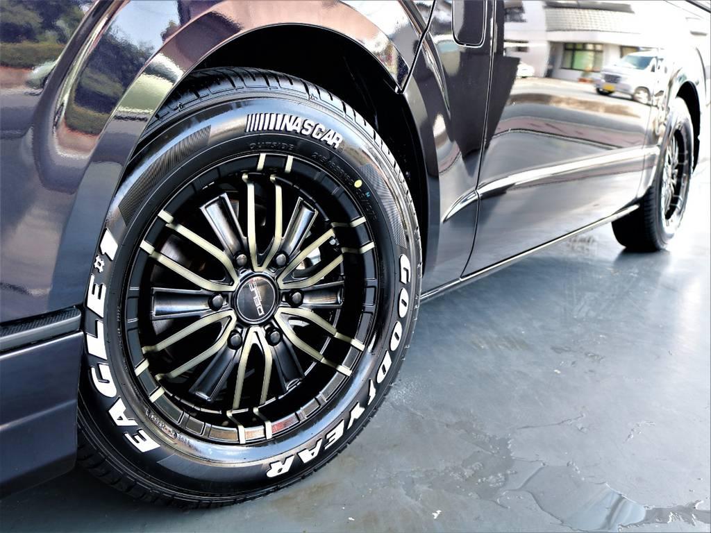 FLEXオリジナルMF01 16インチアルミホイール! グッドイヤーイーグルナスカータイヤ! | トヨタ レジアスエース 2.8 スーパーGL ダークプライム ロングボディ ディーゼルターボ