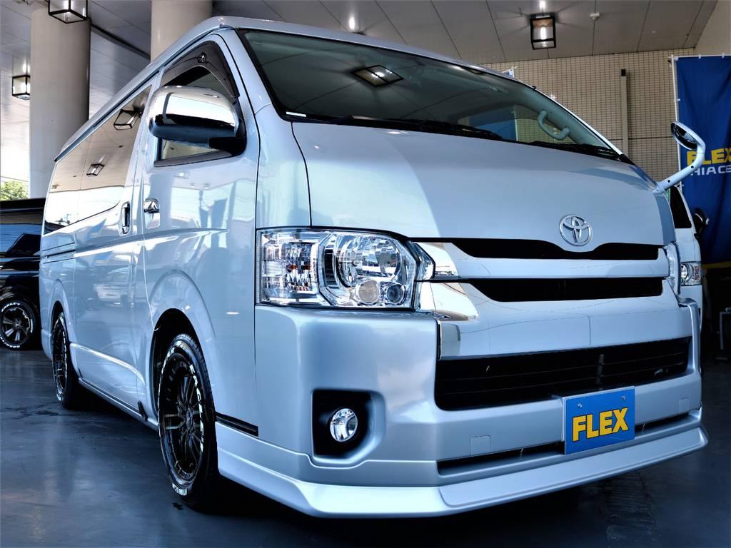FLEXオリジナルDelfino Lineフロントスポイラー!   トヨタ ハイエースバン 2.7 スーパーGL ワイド ロング ミドルルーフ 4WD
