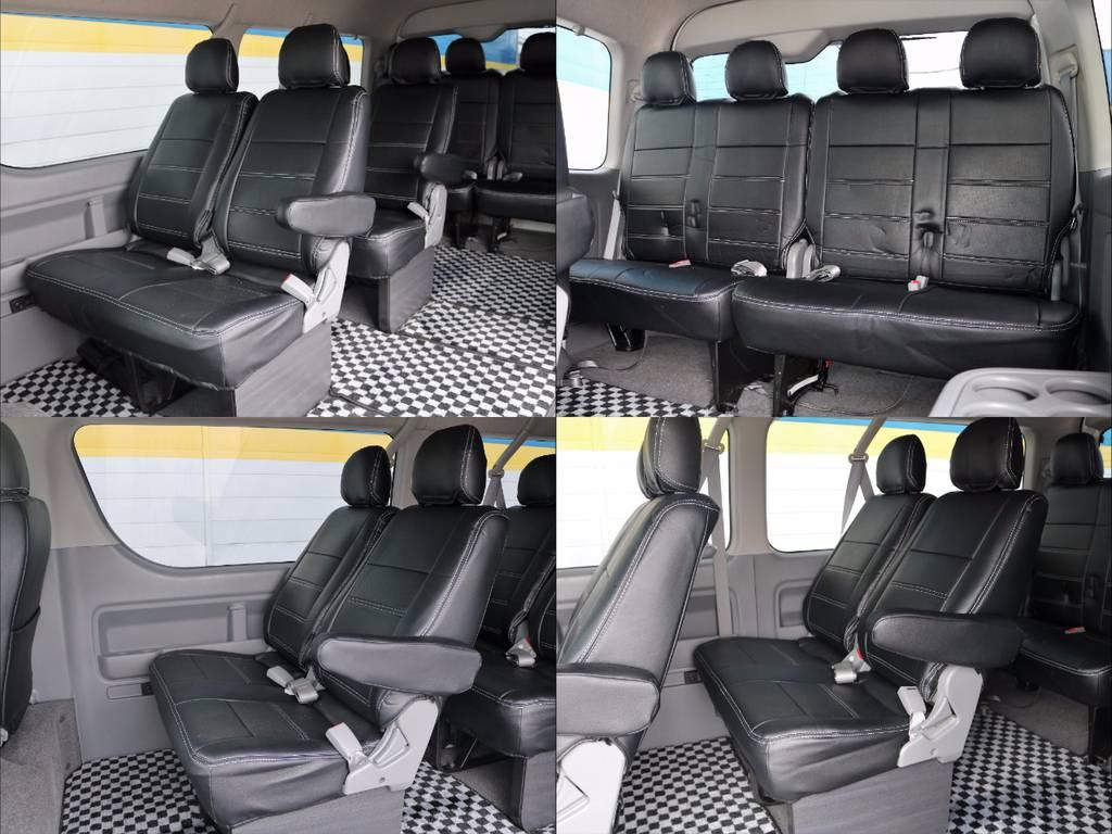 後席も全席に新品シートカバー装着!全部で10名乗車が可能です(^^♪   トヨタ ハイエース 2.7 GL ロング ミドルルーフ Coast Line 自動ドア