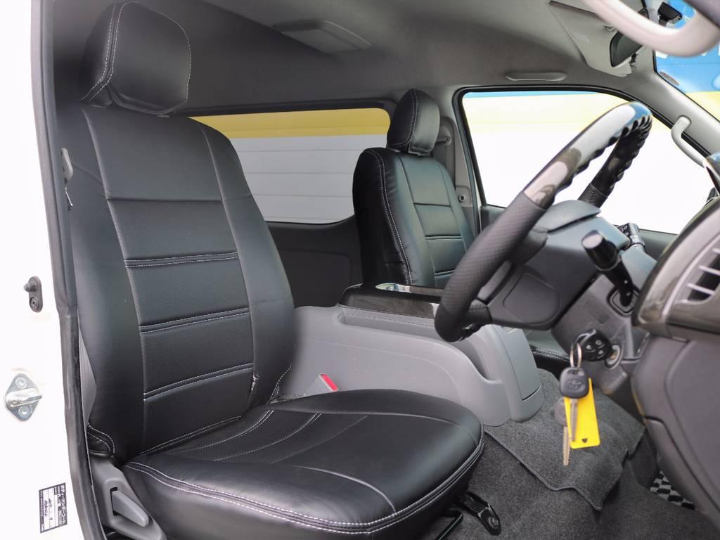 新品のシートカバーですから、新鮮な気持ちでお乗り頂けますよ!   トヨタ ハイエース 2.7 GL ロング ミドルルーフ Coast Line 自動ドア