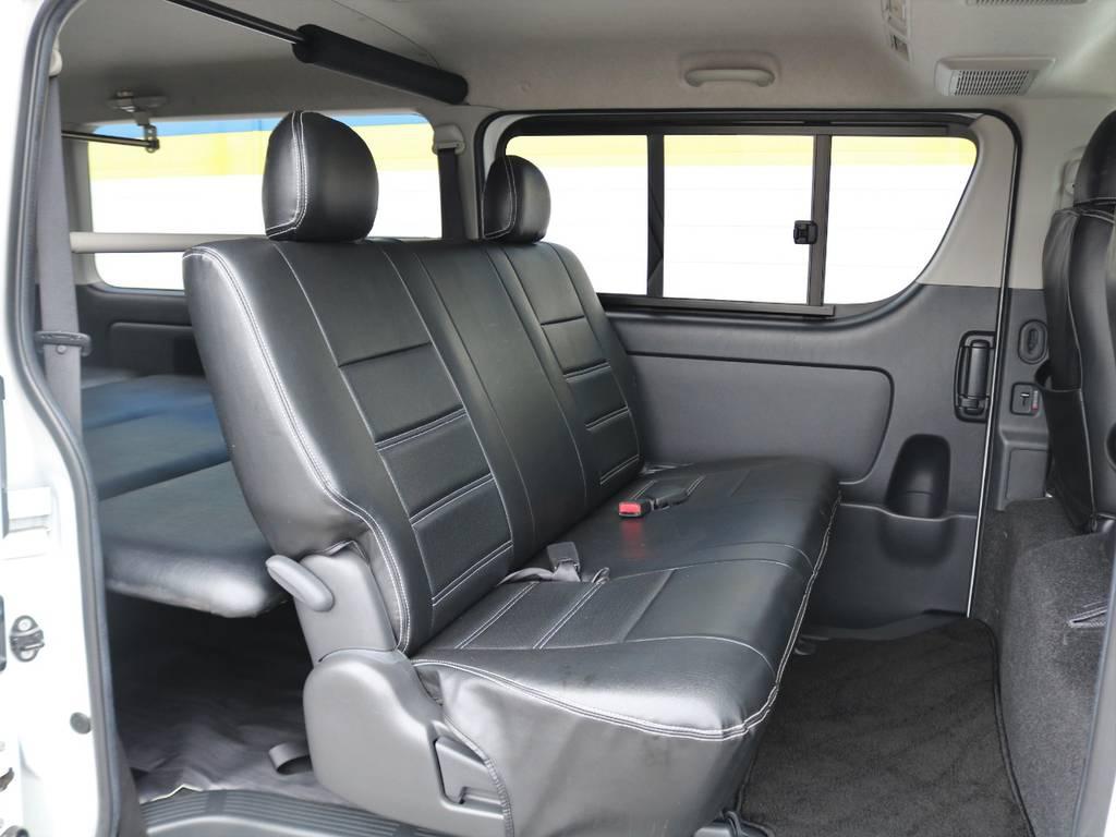 もちろんセカンドシートも黒革調シートカバーついております! | トヨタ レジアスエース 2.0 スーパーGL ロングボディ Ⅲ型フルエアロ WALD17インチ