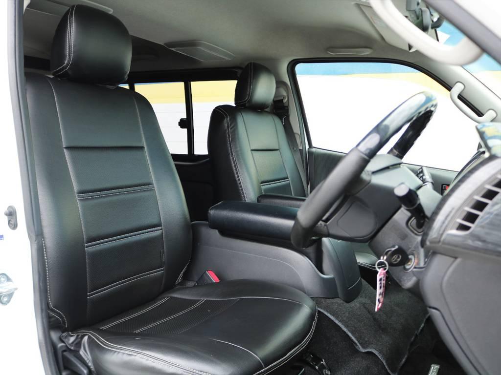 黒革調のシートカバーで高級感が増しますよ! | トヨタ レジアスエース 2.0 スーパーGL ロングボディ Ⅲ型フルエアロ WALD17インチ