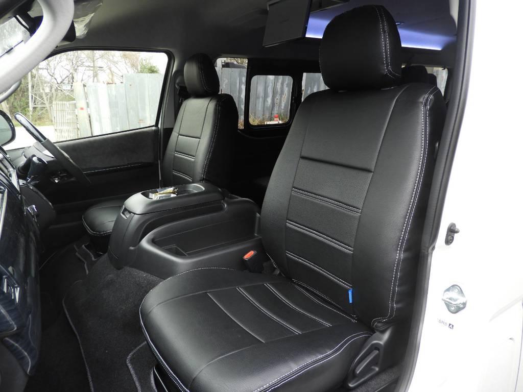 全席FLEXオリジナル黒革調シートカバーを装着! | トヨタ ハイエース 2.7 GL ロング ミドルルーフ ギブソンフルエアロ