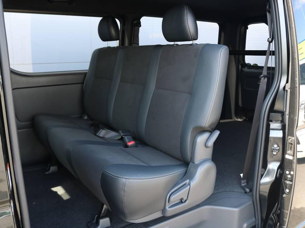 セカンドシートは便利なリクライニング可能なベンチシート! | トヨタ ハイエースバン 2.0 スーパーGL ダークプライムⅡ ロングボディ FLEXカスタム フルセグナビETC20