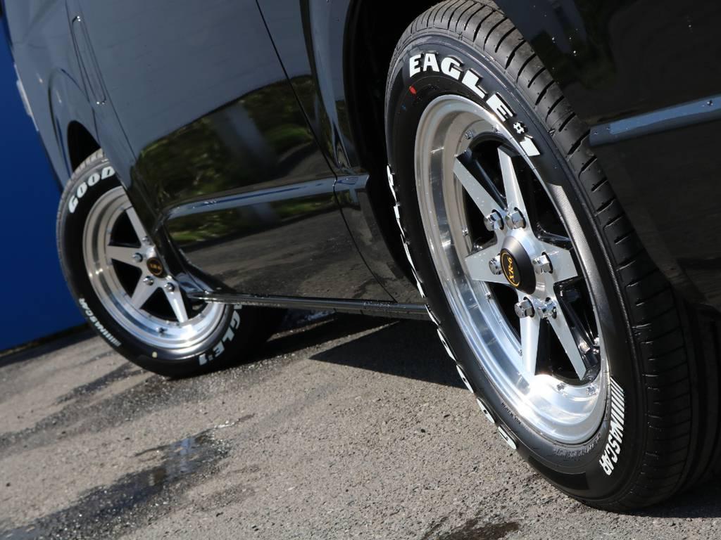 知る人ぞ知るロンシャンのアルミホイール装着! | トヨタ ハイエースバン 2.0 スーパーGL ダークプライムⅡ ロングボディ FLEXカスタム フルセグナビETC20