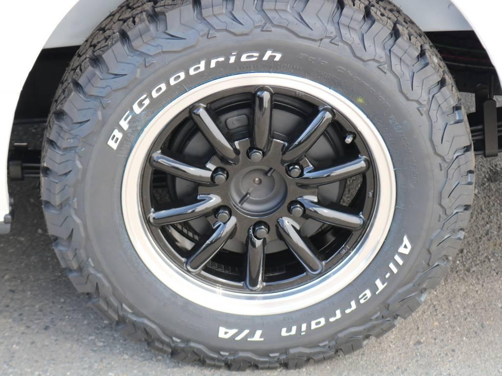 タイヤもオフロード仕様のBFグッドリッチオールテレーンタイヤにENCB16インチアルミホイール!