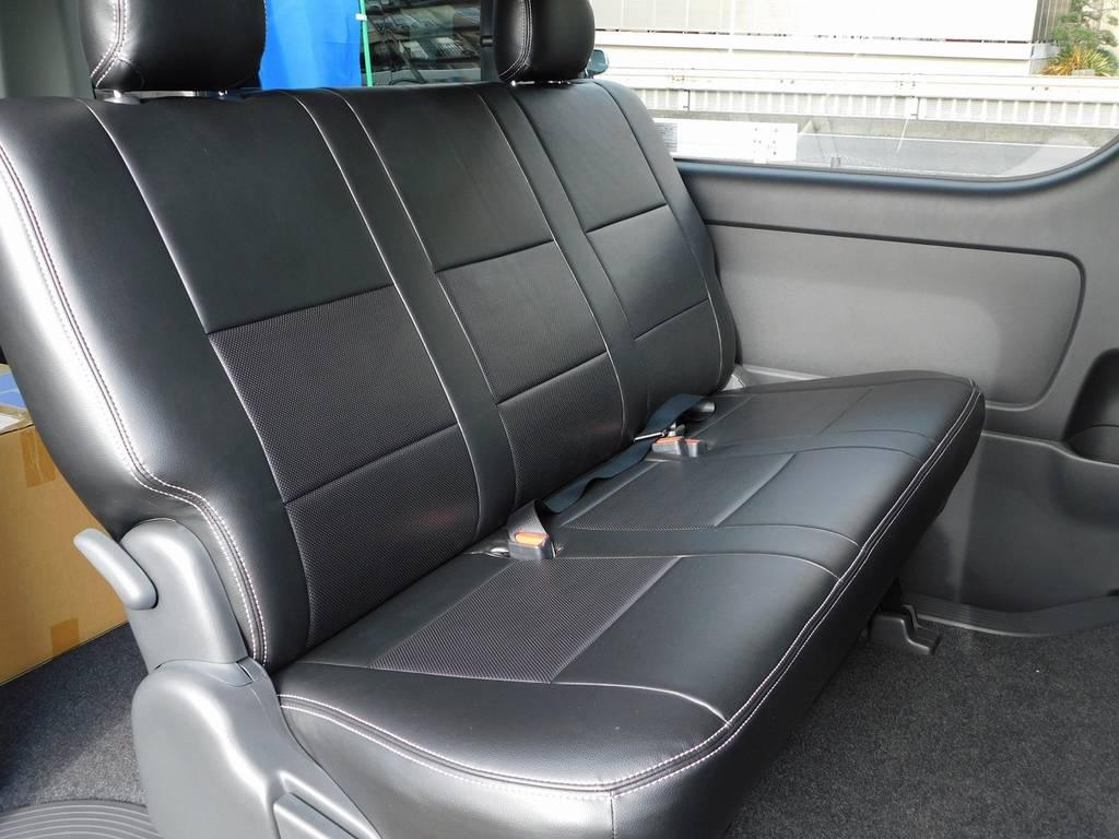 セカンドシートにももちろんシートカバー!高級感もありお手入れも楽チンですねっ!!! | トヨタ ハイエースバン 2.0 スーパーGL ロング フローティングナビパッケージ