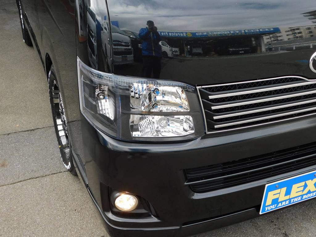 ヘッドライトはバレンティ製のインナーブラックに換装済み!3型はHIDですがこの車はLEDに変更してあります♪こだわりのヘッドライトとなっております♪ | トヨタ レジアスエース 2.0 スーパーGL ロングボディ ブラックカスタム