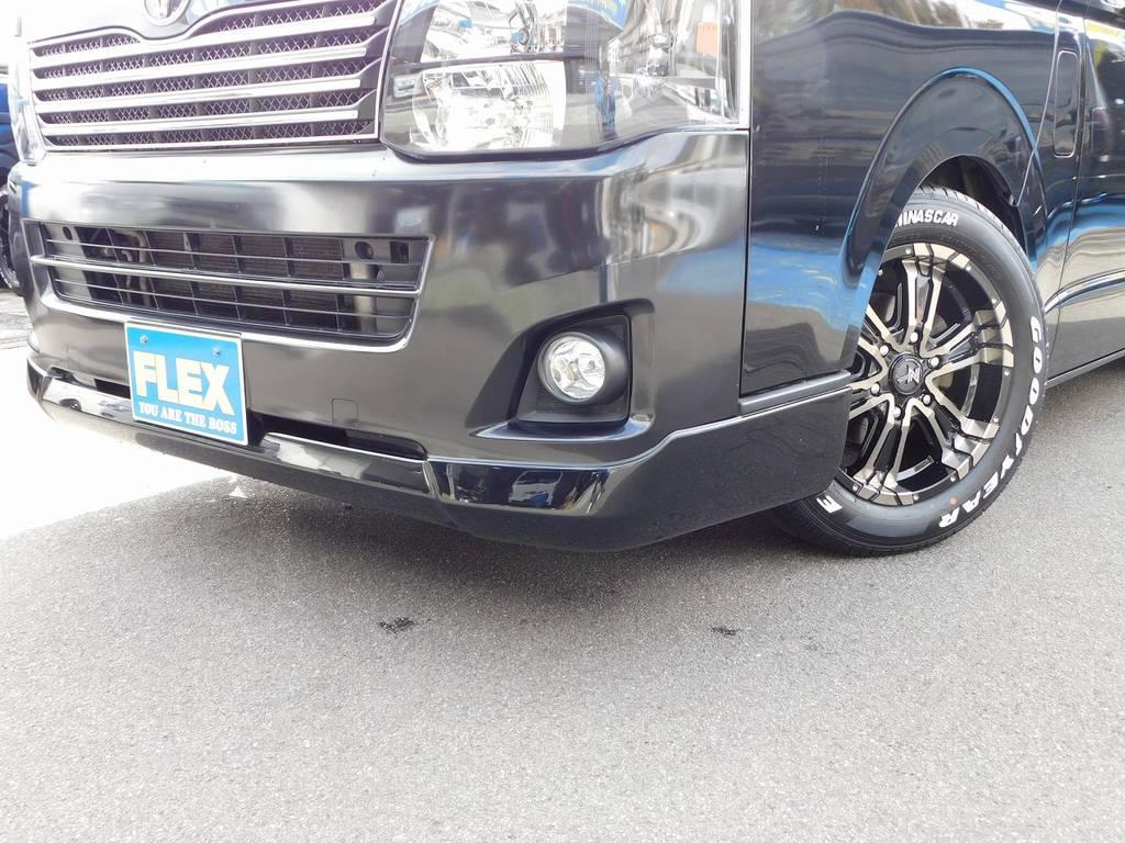 フロントリップはESSEX製!リップが付くと印象も全然違いカッコいいですねっ♪ | トヨタ レジアスエース 2.0 スーパーGL ロングボディ ブラックカスタム