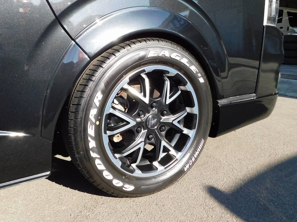 装着アルミはブラックダイヤモンドBV12・17インチアルミホイール!新品装着ですのでタイヤの山もバリ山です! | トヨタ ハイエース 2.7 GL ロング ミドルルーフ 漆黒の3型ワゴンカスタム